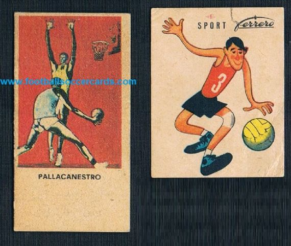 1950s a pair of Italian trade cards weighing machine card & Ferrero basketball card